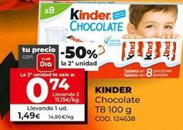 Oferta de Chocolate Kinder por 1,49€