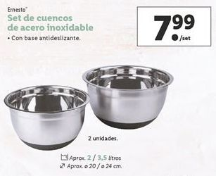 Oferta de Set de cuencos de acero inoxidable por 7,99€
