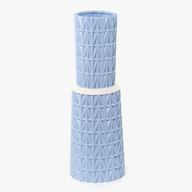 Oferta de Jarrón Azul 16x16x48 cm por 19,99€