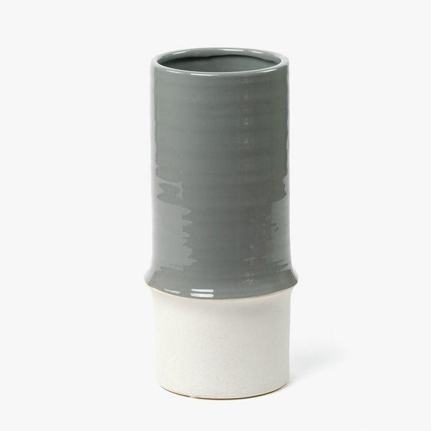 Oferta de Jarrón Gris 14x14x31 cm por 7,99€