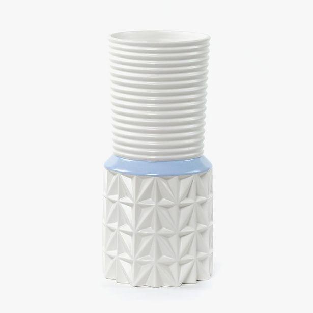 Oferta de Jarrón Blanco y Azul 16x16x34 cm por 17,99€