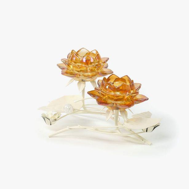 Oferta de Candelero 2 Flores Ambar 29x16x16 cm por 19,95€