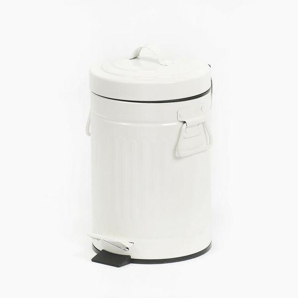 Oferta de Cubo de Basura Retro Blanco por 7,99€