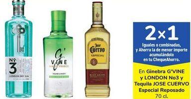 Oferta de En ginebra G'VINE y LONDON No3 y Tequila JOSE CUERVO Especial reposado  por