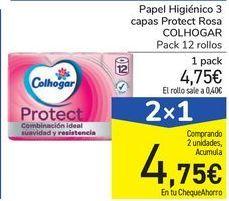Oferta de Papel higiénico 3 Capas Protect Rosa COLHOGAR  por 4,75€