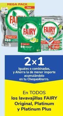 Oferta de En TODOS los lavavajillas FAIRY Original, Platinum y Platinum Plus  por