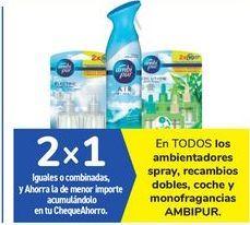 Oferta de En TODOS los ambientadores spray, recambios dobles, coches y monofragancias AMBIPUR  por