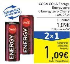 Oferta de COCA COLA Energy, Energy zero o Energy zero cherry por 1,09€