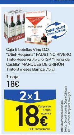 Oferta de Caja 6 botellas Vino D.O. Utiel-Requene FAUSTINO RIVERO Tinto Reserva Tierra de Castilla MARQUÉS DE GRIÑON por 18€