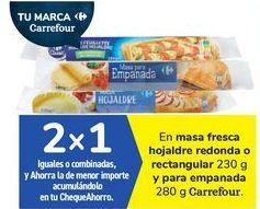 Oferta de En masa fresca hojaldre redonda o rectangular y para empanada Carrefour por
