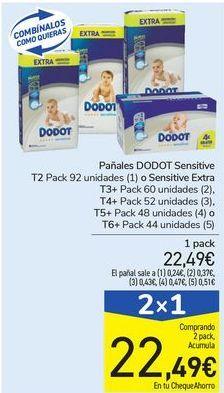 Oferta de Pañales DODOT Sensitive o Sensitive Extra  por 22,49€