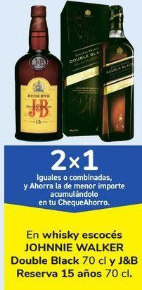 Oferta de En whisky escocés JOHNI WALKER Double Black y J&B Reserva 15 años  por