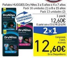 Oferta de Pañales HUGGIES Dry Nite  por 12,6€