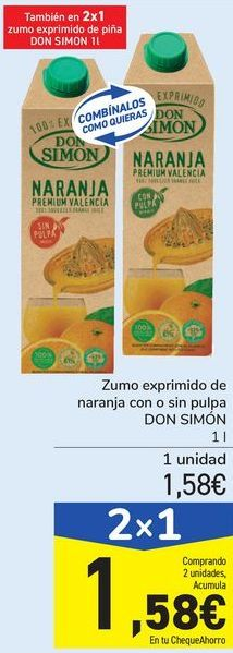 Oferta de Zumo exprimido de naranja con con sin pulpa DON SIMÓN  por 1,58€