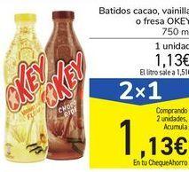 Oferta de Batidos cacao, vainilla o fresa OKEY  por 1,1€