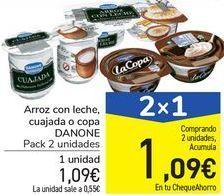 Oferta de Arroz con leche cuajada o copa DANONE  por 1,09€