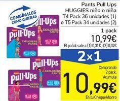 Oferta de Pants Pull Ups HUGGIES niño o niña  por 10,99€