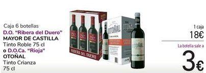 Oferta de Caja 6 botellas D.O. Riberal del Duero MAYOR DE CASATILLA o D.O.Ca Rioja OTOÑAL por 18€