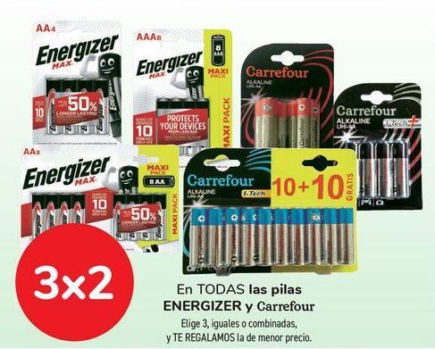 Oferta de En TODAS las pilas ENERGIZER y Carrefour por