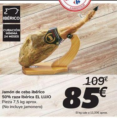 Oferta de Jamón de cebo ibérico 50% raza ibérica EL LUJO por 85€