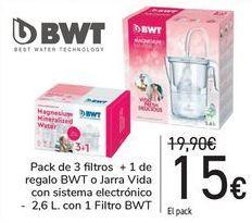 Oferta de Pack de 3 filtros + 1 de regalo BTW o Jarra Vida con sistema Electrónico  por 15€