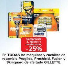 Oferta de En TODAS las máquinas y cuchillas de recambio Proglide, Proshield, Fusion y Skinguard de afeitado GILLETTE por
