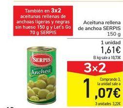 Oferta de Aceituna rellena de anchoa SERPIS por 1,61€