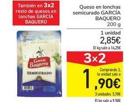 Oferta de Queso en lonchas semicurado GARCÍA BAQUERO por 2,9€