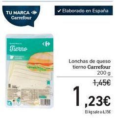 Oferta de Lonchas de queso tierno Carrefour por 1,23€