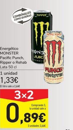 Oferta de Energético MONSTER Pacific Punch, Ripper o Rehab por 1,33€