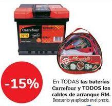 Oferta de En TODAS las baterías Carrefour y TODOS los cables de arranque RM por