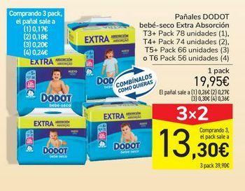 Oferta de Pañales DODOT bebé-seco Extra Absorción por 19,95€