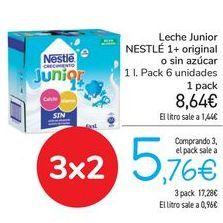 Oferta de Leche Junior NESTLÉ 1+Original o sin azúcar  por 8,64€