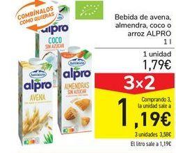Oferta de Bebida de avena almendra, coco o arroz ALPRO por 1,79€