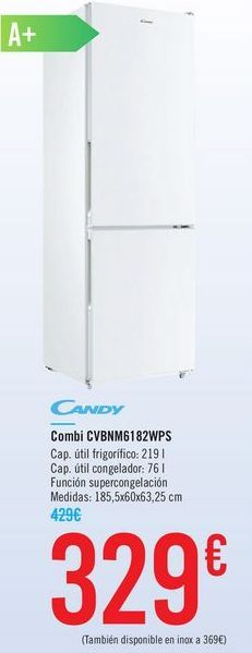 Oferta de Combi CANDY CVBNM6182WPS por 329€