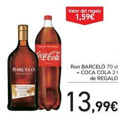 Oferta de Ron BARCELÓ + COCA COLA de regalo  por 13,99€