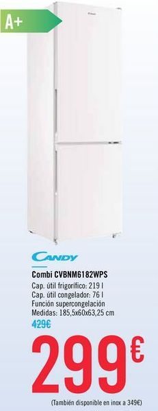 Oferta de Combi CANDY CVBNM6182WPS por 299€