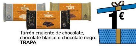 Oferta de Turrón crujiente de chocolate, chocolate blanco o chocolate negro TRAPA por 1€