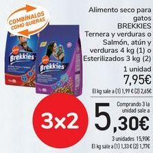 Oferta de Alimento seco para gatos BREKKIES Ternera y verduras o Salmón, atún y verduras o Esterilizados  por 7,95€