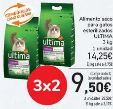 Oferta de Alimento seco para gatos esterilizados ULTIMA  por 14,25€