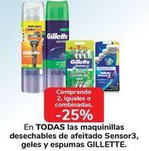 Oferta de En TODAS las maquinillas desechables de afeitado Sensor3, geles y espumas GILLETTE por