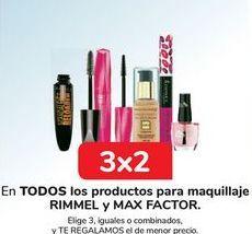 Oferta de En TODOS los productos para maquillaje RIMMEL y Max Factor  por