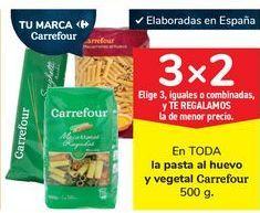 Oferta de En TODA la pasta al huevo y vegetal Carrefour por