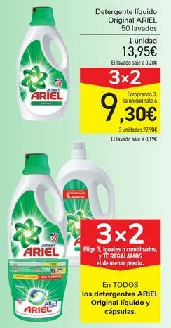 Oferta de En TODOS los detergentes ARIEL Original líquido y cápsulas  por