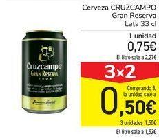 Oferta de Cerveza CRUZCAMPO Gran Reserva por 0,75€