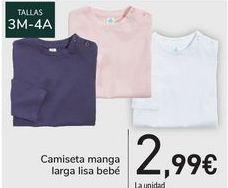 Oferta de Camiseta manga larga lisa bebé  por 2,99€