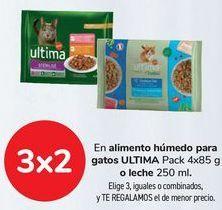 Oferta de En alimento húmedo para gatos ULTIMA o leche  por