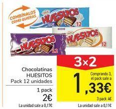 Oferta de Chocolatinas HUESITOS por 2€