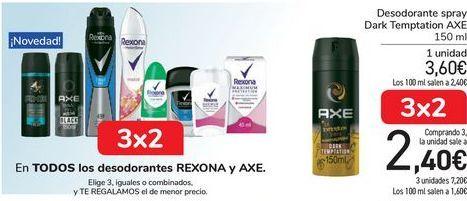 Oferta de En TODOS los desodorantes REXONA y AXE por