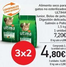 Oferta de Alimento seco para gatos no esterilizados ULTIMA Junior, Bolas de pelo, Digestión delicada, Salmón o Pollo por 7,2€